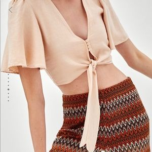 Zara TRF Knotted Rustic Top